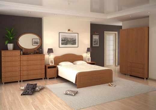 Интерьер спальни с мебелью орех