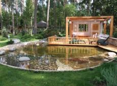 Деревянный дом на берегу пруда
