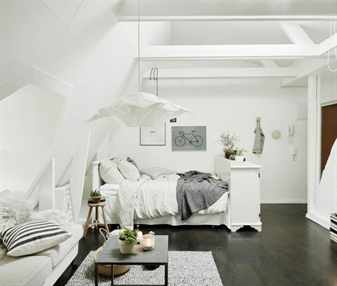 Интерьер спальни на мансардном этаже