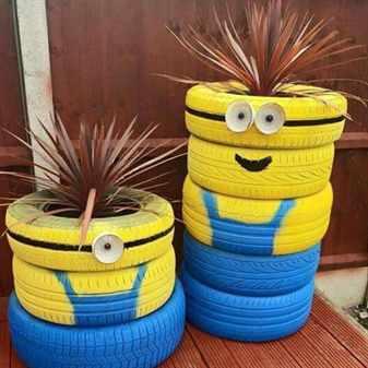 Украшаем сад клумбами с отработанных колесных шин