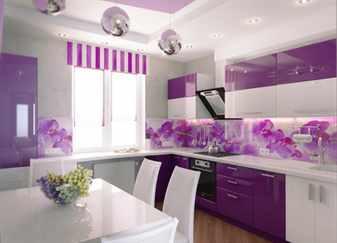 Интерьер кухни выполненный в сиреневом цвете