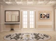 Белая комната с красивым цветком на полу