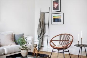 плетенное кресло в интерьере